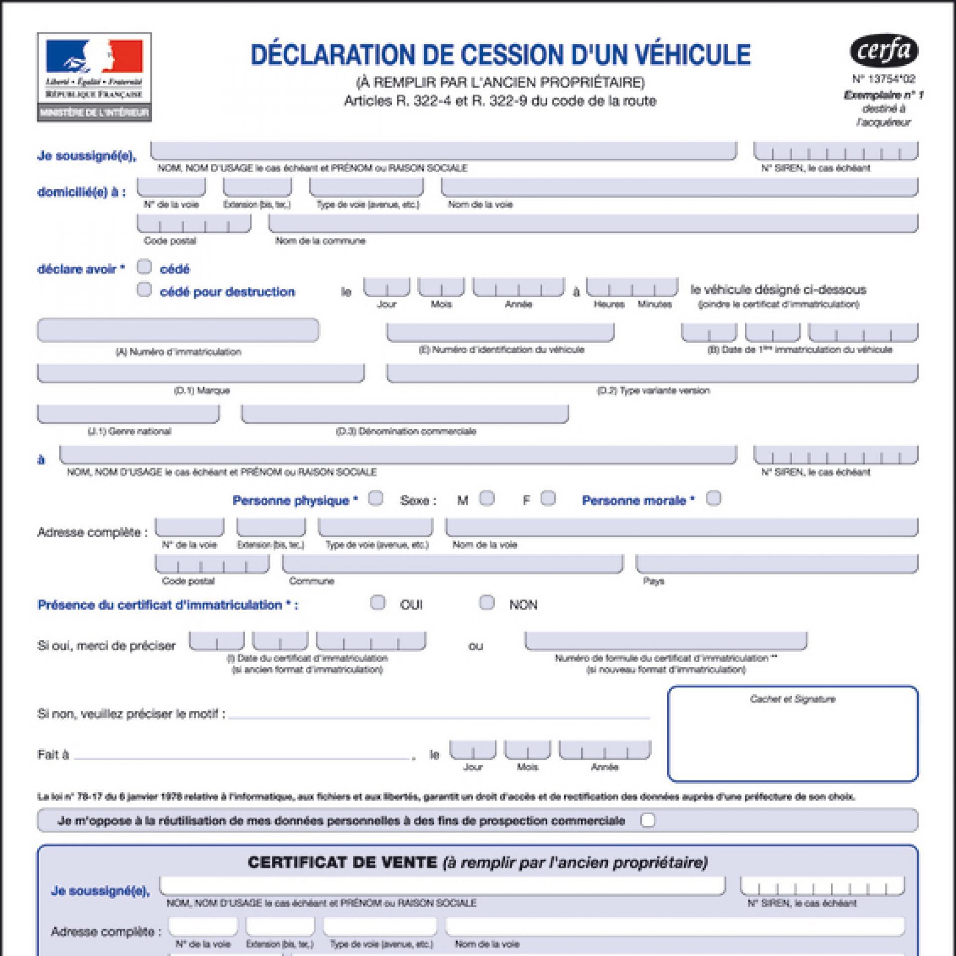 Certificat De Cession D Un Vehicule Gravelines